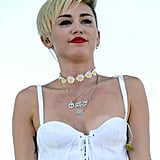 During her Sunday performance at the iHeartRadio Music Festival in Las Vegas, Miley Cyrus showed signs of tears on her cheeks.