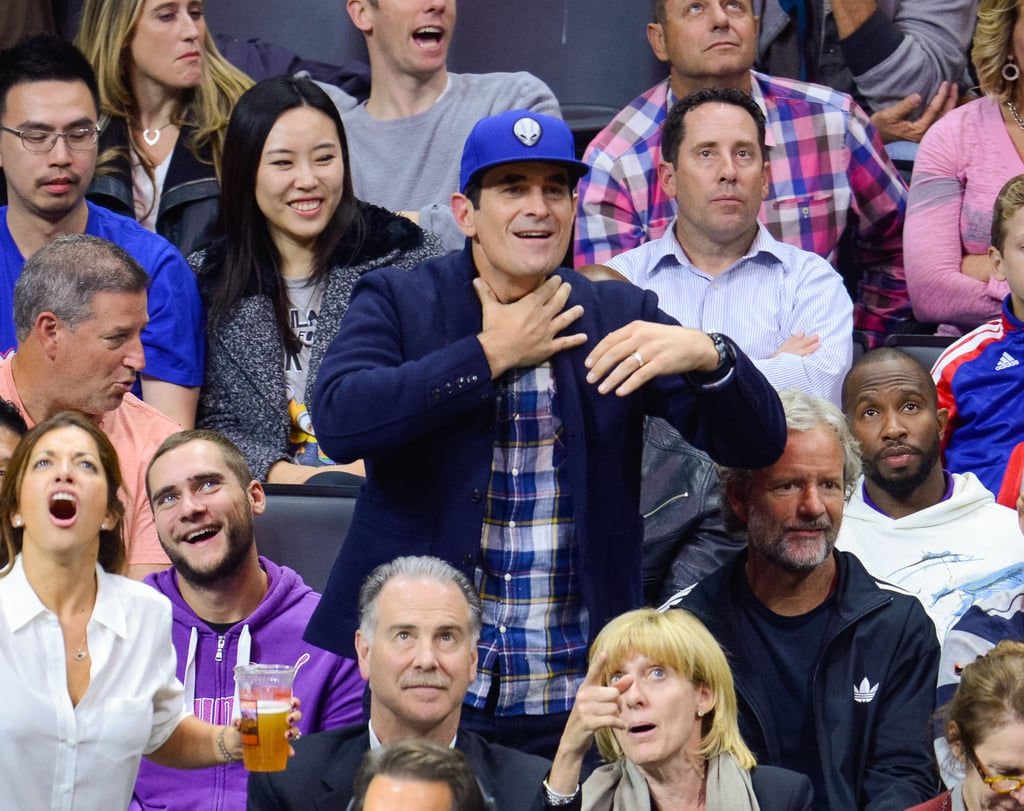 Ty Burrell made a choking motion while watching a tense game between the San Antonio Spurs and LA Clippers in November 2014.