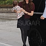 Victoria Beckham With Harper in Plaid Dress at LAX Pictures