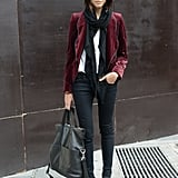 Again, Fall's favorite burgundy hue was the seasonal bit of chic in this play on wardrobe staples.