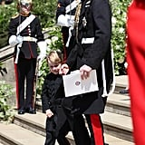 William helped George down the steps at Harry and Meghan's royal wedding in May.