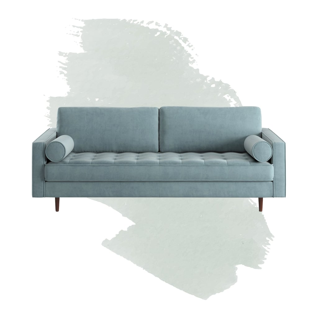 "Derry Velvet 88"" Square Arm Sofa"