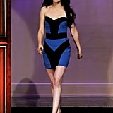 Kristen stunned on The Tonight Show in November 2011, wearing a black and cobalt blue coloir-blocked mini from Monique Lhuillier's Spring 2012 collection.