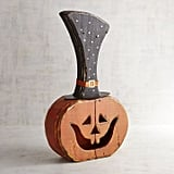 Pier 1 Imports Wooden Jack-o'-Lantern with Hat