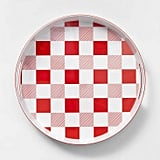 """14.8"""" Plastic Gingham Round Serving Tray Red/White"""