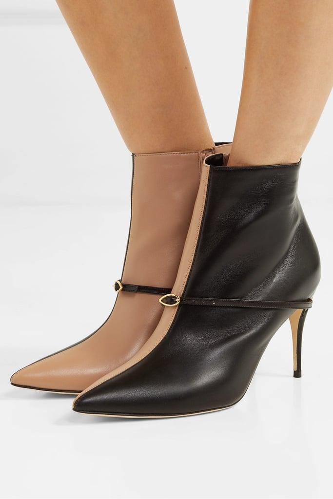 Jennifer Chamandi Nicolò 85 Two-Tone Leather Ankle Boots