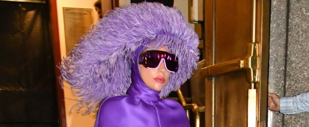 Lady Gaga's Purple Valentino Cape Dress and Feathered Hat