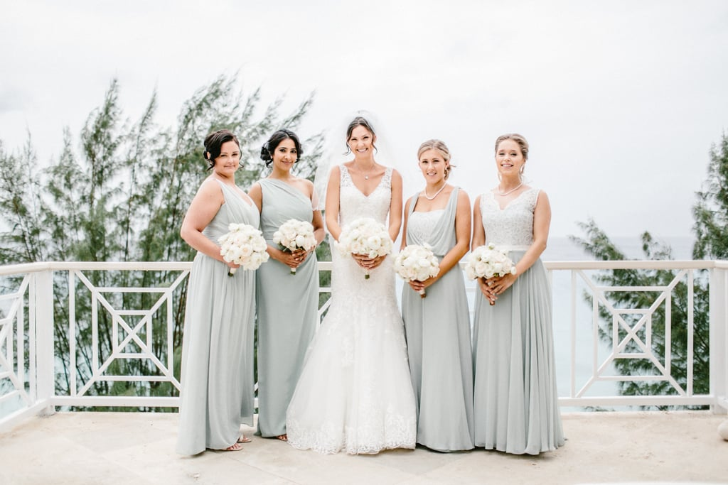 These bridesmaids wore icy gray gowns in different styles ...