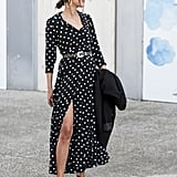 For a flattering effect, belt a polka-dot dress and finish with leg-lengthening heels.
