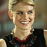 Alice Eve punctuated a black look with a bold, colorful statement necklace at the Star Trek Into Darkness press conference in Berlin.