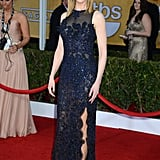 Nicole Kidman wore a detailed navy dress.