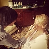 Margot Robbie stayed cozy in her robe while makeup artist Jenn Streicher got her Golden Globes-ready. Source: Instagram user jennstreicher