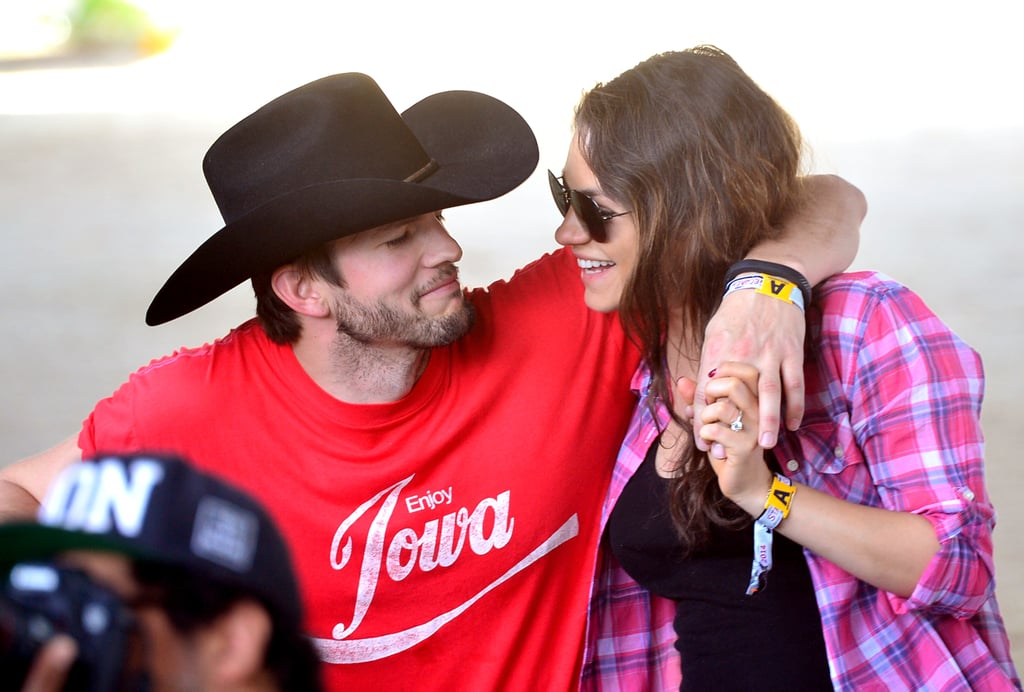 Ashton Kutcher and Mila Kunis shared a cute moment at Stagecoach in 2014.