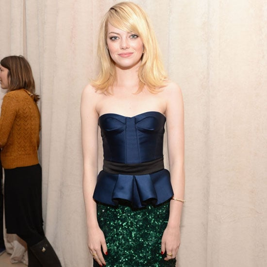Emma Stone Wearing Green Sequin Skirt