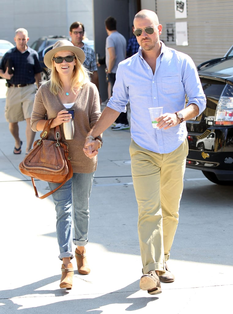 Reese Witherspoon and Jim Toth were hand in hand as they left a church in Santa Monica yesterday. The couple was dressed down for the weekend outing, which usually includes Reese's children Ava and Deacon, though they weren't spotted alongside Reese and Jim this time. Reese kept her face covered with a hat and sunglasses after she revealed a black eye on her way into a birthday party with friends last week. The injury resulted when Reese was hit by a car while on a routine run near her home earlier this month, and the actress seems to be recovering well.