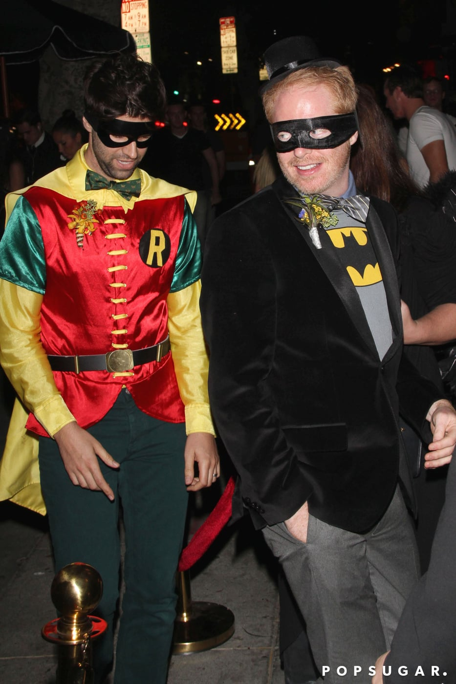 Jesse Tyler Ferguson and Justin Mikita went to a Hollywood Halloween party as Batman and Robin.