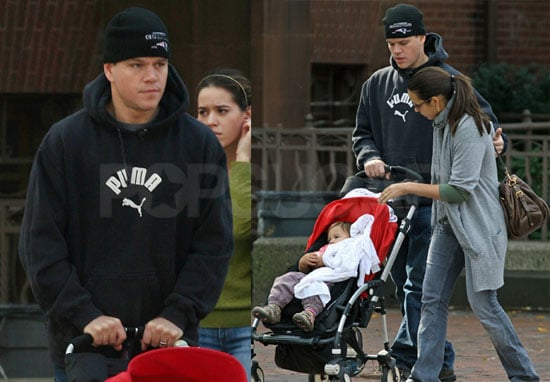 Photos of Matt Damon, Luciana and Gia in Boston