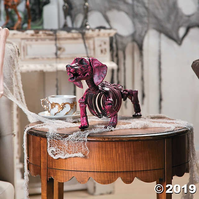 Hot Pink Dachshund Skeleton Halloween Decoration
