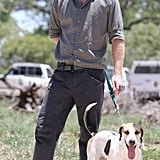 Harry hung out with a ranger tracker dog in South Africa in December 2015.