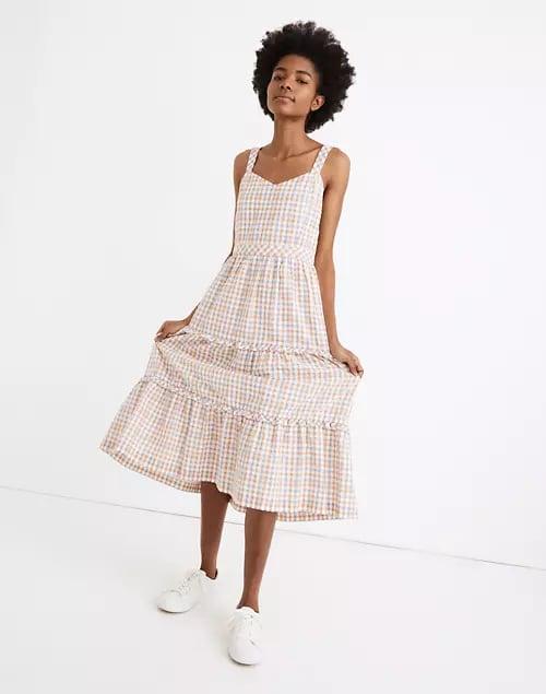 Madewell Gingham Sweetheart Ruffle-Tiered Midi Dress