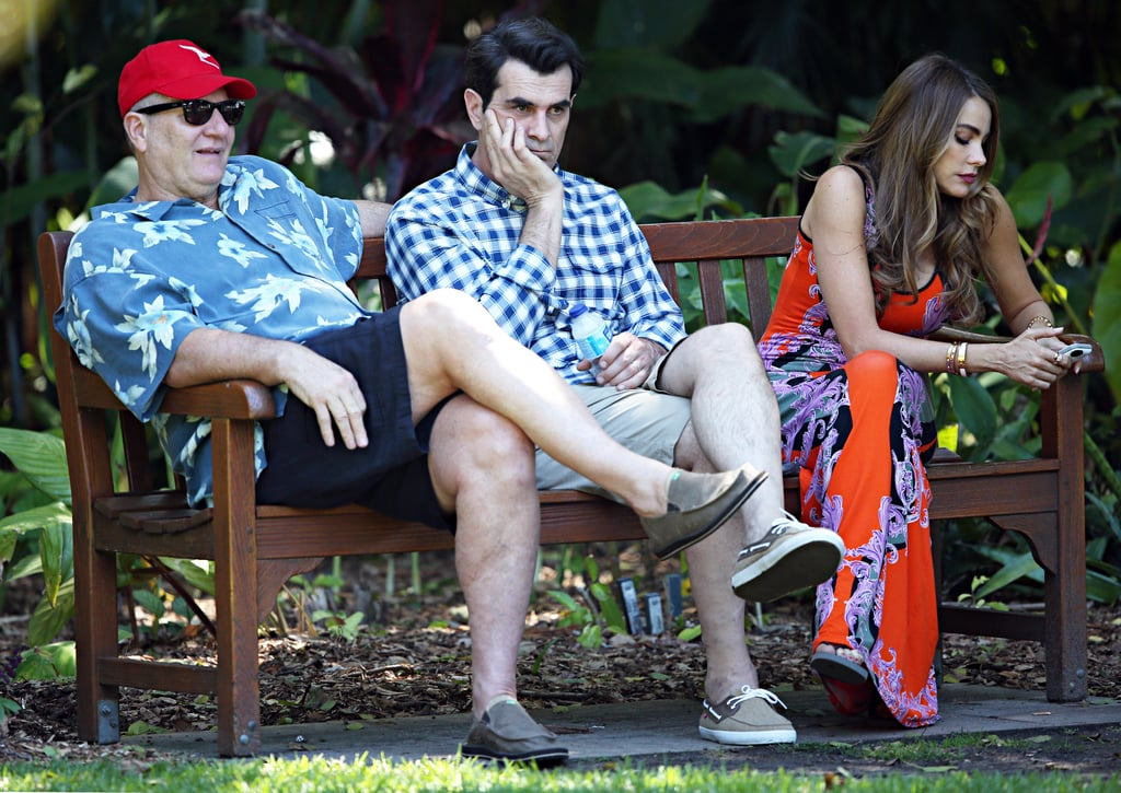 Ed O'Neill, Ty Burrell and Sofia Vergara occupied a bench at the Botanical Gardens on Feb. 20.