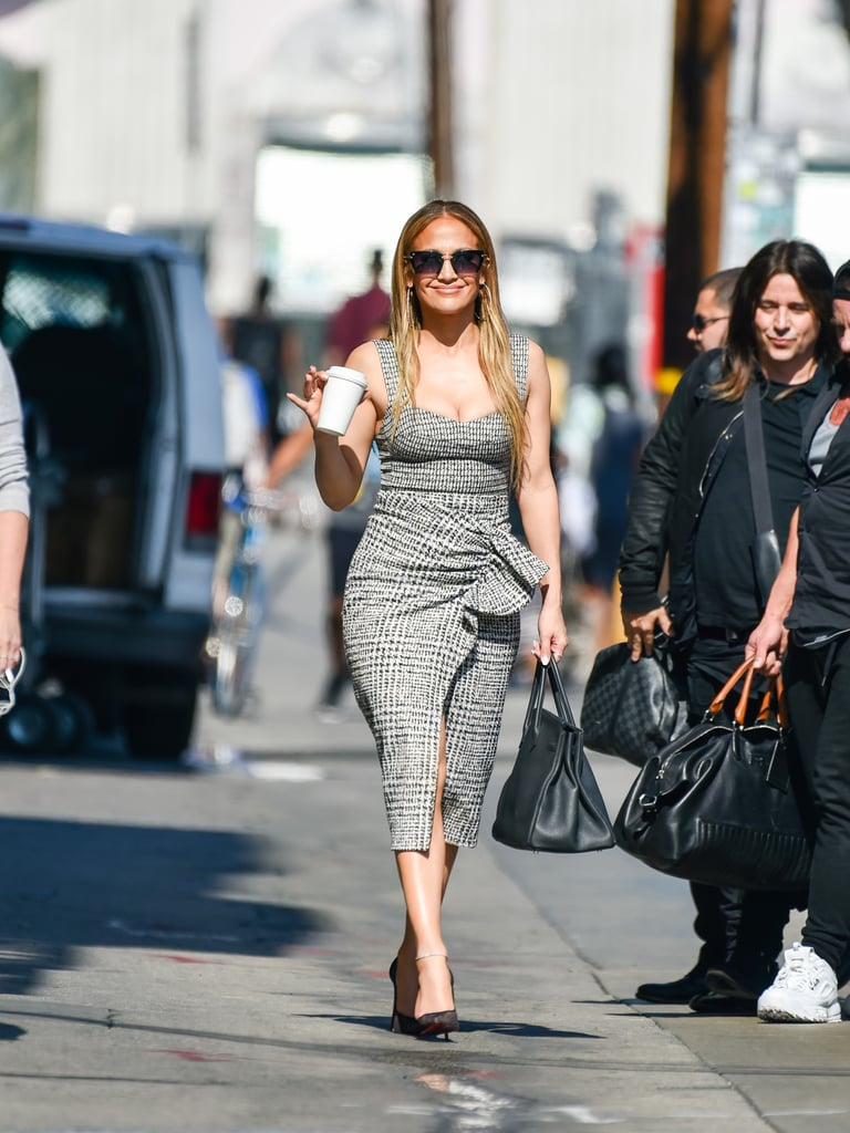 751691f6921f Jennifer Lopez's Tweed Plaid Dress | POPSUGAR Fashion