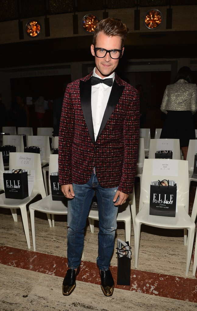 Brad Goreski dressed up his jeans look with a textured tuxedo jacket and bow-tie combo at the Elle Fashion Next show.