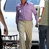 Michael Douglas wore a purple shirt and a wig on set.