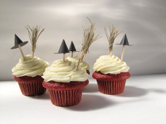 hat and broom cupcake toppers