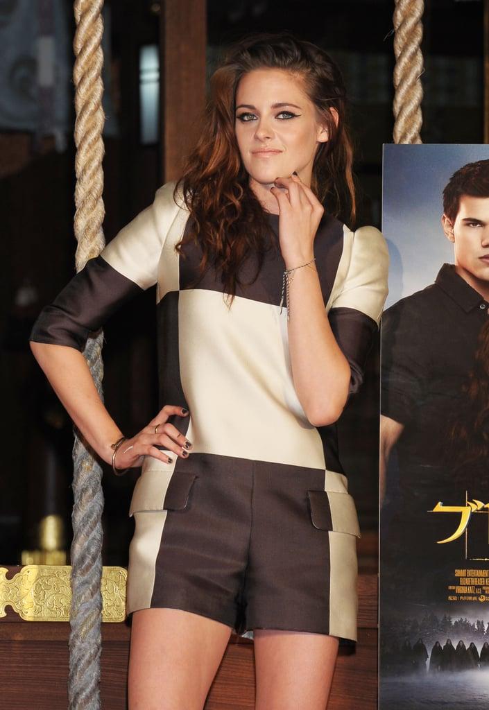 Kristen Stewart wore oversized checks to promote Breaking Dawn — Part 2 in Japan.