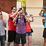 Tourists snapped photos outside the hospital after it was announced that Kate Middleton had gone into labor.