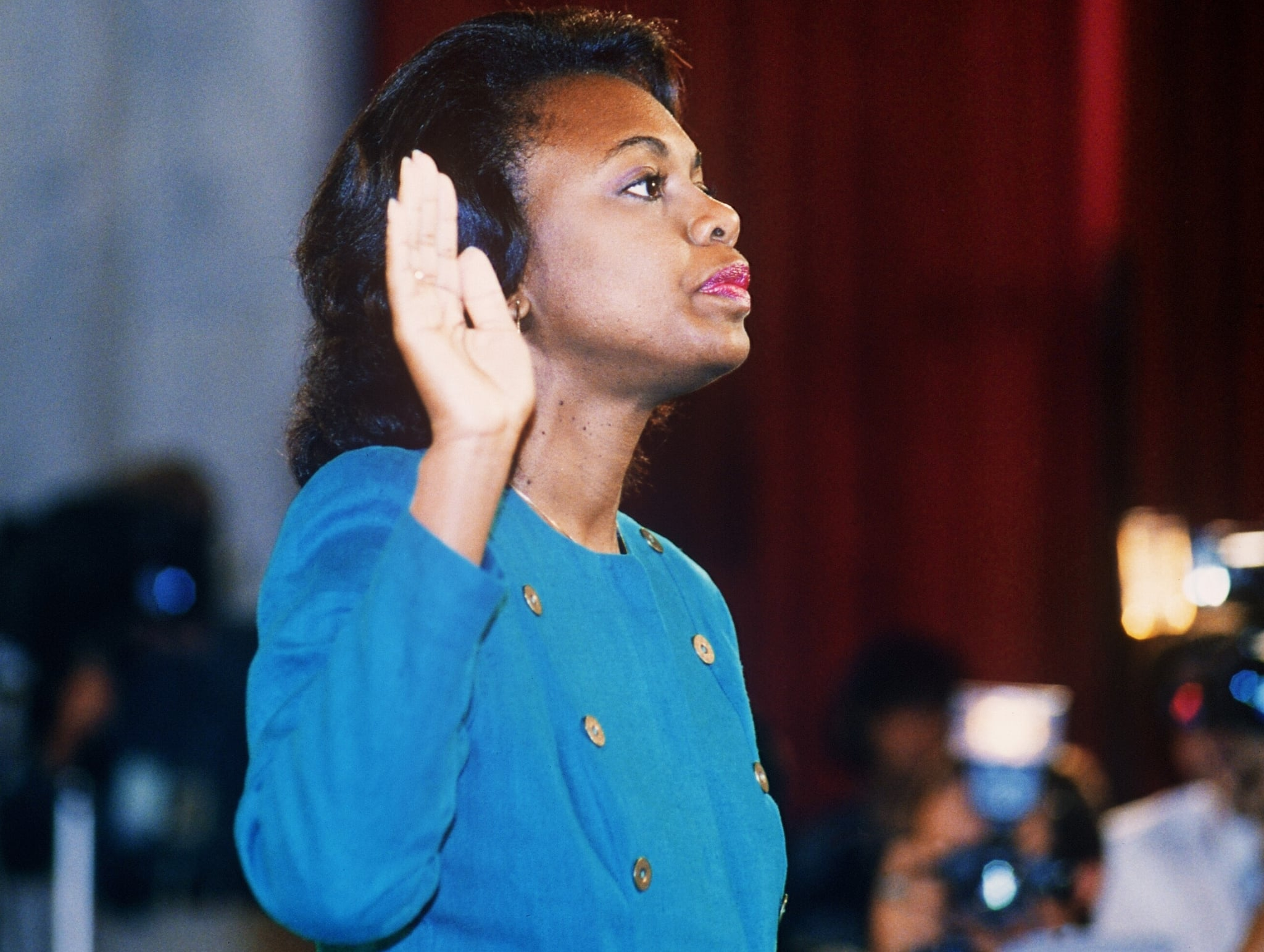 WASHINGTON, DC - OCTOBER 12:  US law professor Anita Hill takes oath, 12 October 1991, before the Senate Judiciary Committee in Washington D.C.. Hill filed sexual harassment charges against US Supreme Court nominee Clarence Thomas.  (Photo credit should read JENNIFER LAW/AFP/Getty Images)