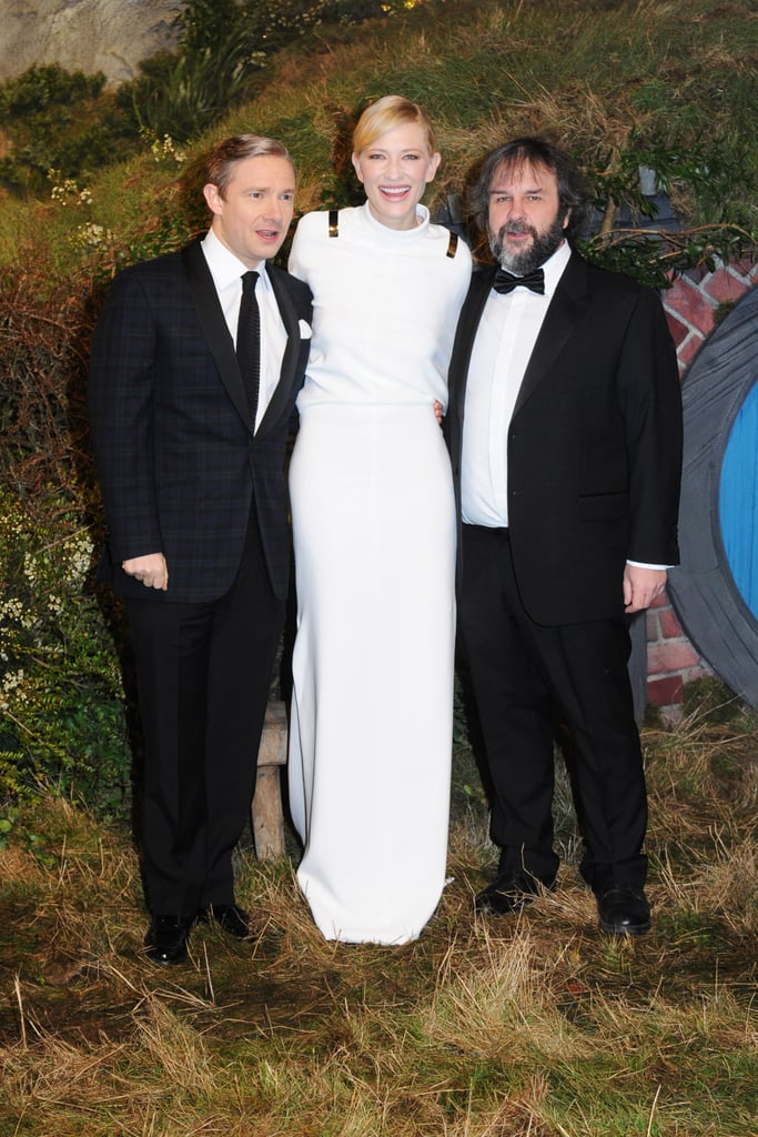 Cate Blanchett posed with star Martin Freeman and director Peter Jackson.