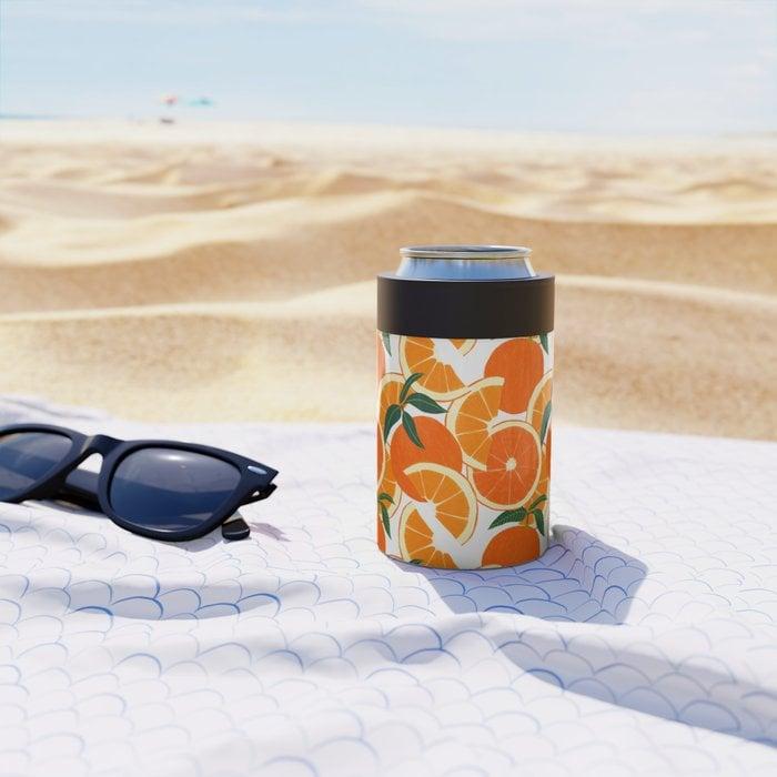 Orange Harvest Can Cooler by leannesimpsonart