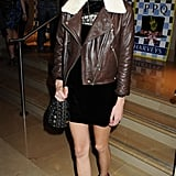 Styled up in shearling and leather at a Fashion Week after-party in September '09.