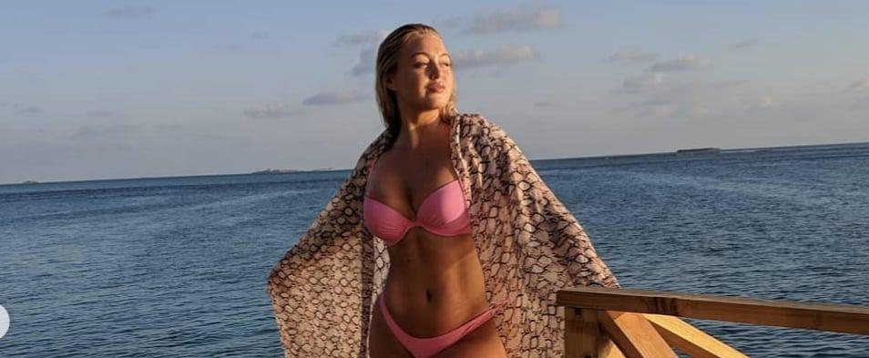 Iskra Lawrence Neon Pink Bikini in Maldives April 2019