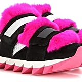 The platform on Dolce & Gabbana's Fur-Embellished Suede and Mesh Sneakers ($995) comes with a sliced cut, and the hot pink hair gets Velcroed in.