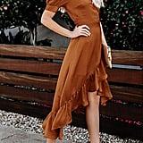 Chellysun Fall RuffleMidi Dress