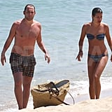 Theo Stockman and Lea Michele took a stroll along the shore.