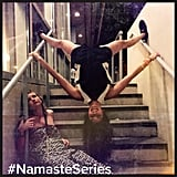 Yoga anywhere for Nina Dobrev.