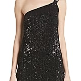 St. John Collection Pleated Sequin Embellished One-Shoulder Top