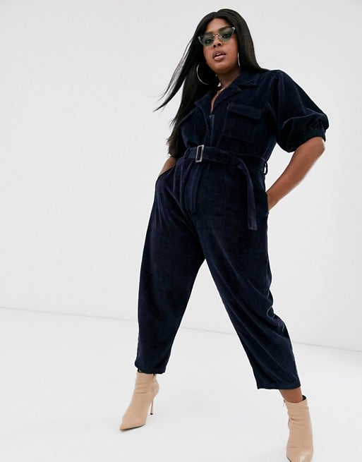 ASOS Design Curve Cord Belted Jumpsuit With Tapered Leg