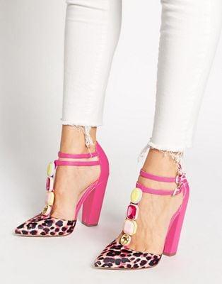 ASOS Photobooth Pink Jewel Detail Pointed Heels