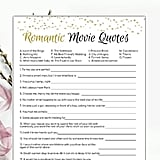 Romantic Movie Quotes Printable Bridal Shower Game