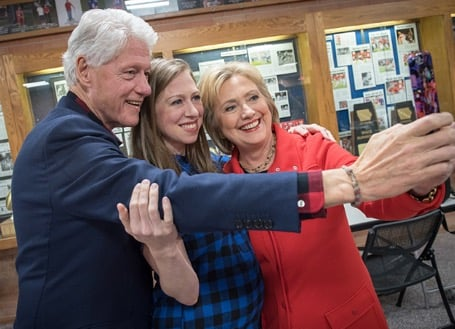 #TBT to a family selfie on the night my mom became the first woman to win the Iowa Democratic Caucuses. Many campaign stops later, I think it's safe to say that my mom and dad are pretty much experts on how to take a good selfie!      Related:                                                                5 Reasons Hillary Clinton Is the Best Candidate For Single Women                                                                   3 Ways Hillary Clinton's Student-Loan Proposals Could Help You Dig Out of College Debt                                                                   4 Major Outcomes of Electing Women to Political Office