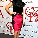 Mad Men's Jessica Paré dazzled in a black and fuchsia frock by Jason Wu.