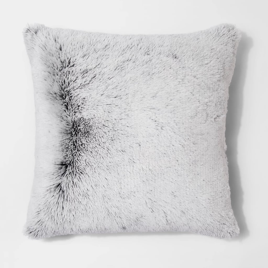Tipped Shaggy Oversize Square Throw Pillow
