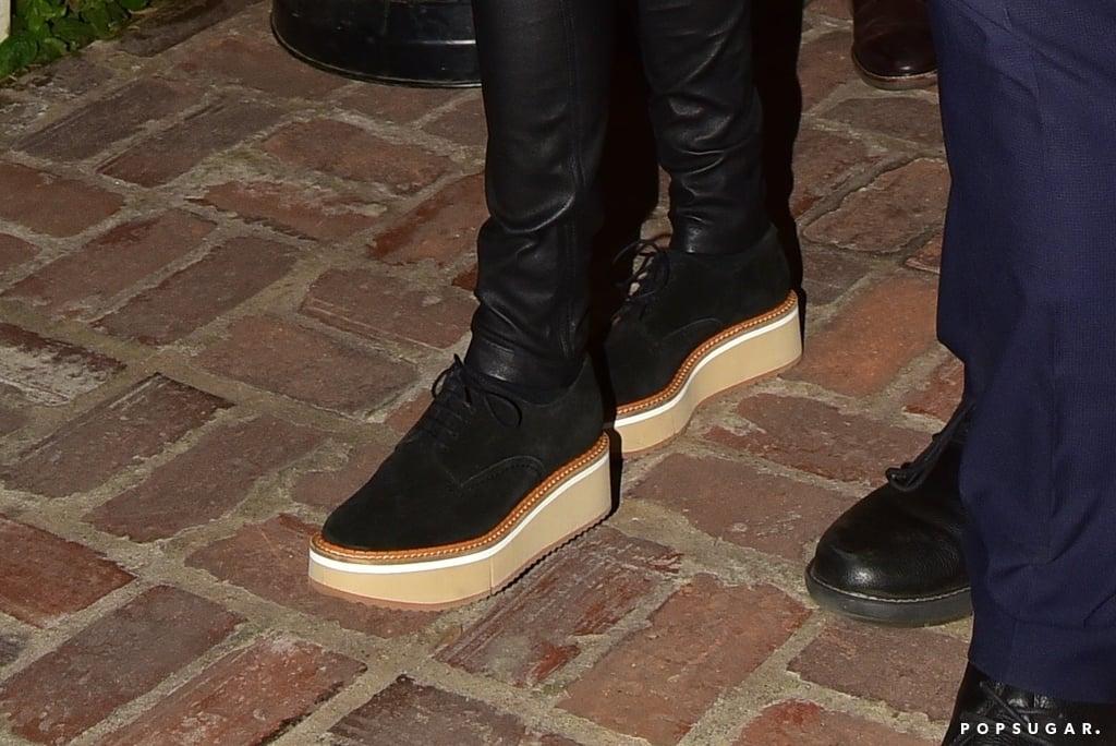 Jennifer Aniston Styles Leather Pants With Platform Oxfords