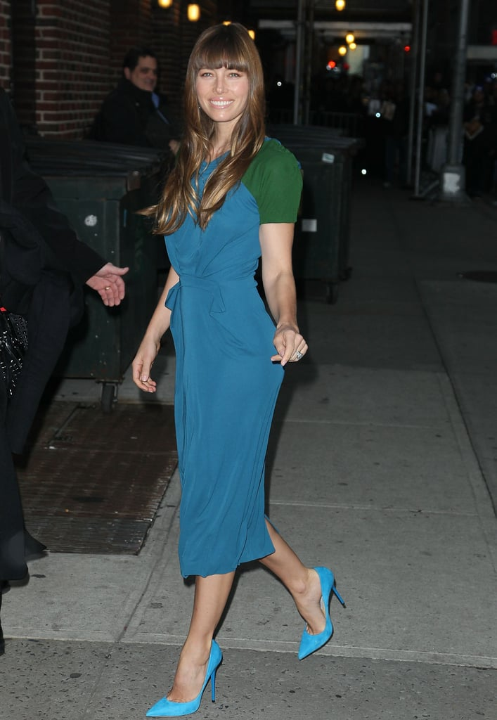 Jessica Biel wore bright blue shoes in NYC.