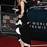 Amanda showed off her black-and-white ruffle-trimmed Balenciaga confection at the London premiere.